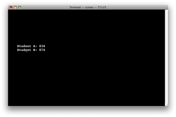[Screen capture of Discreet Answers' Terminal&ndash;based software]