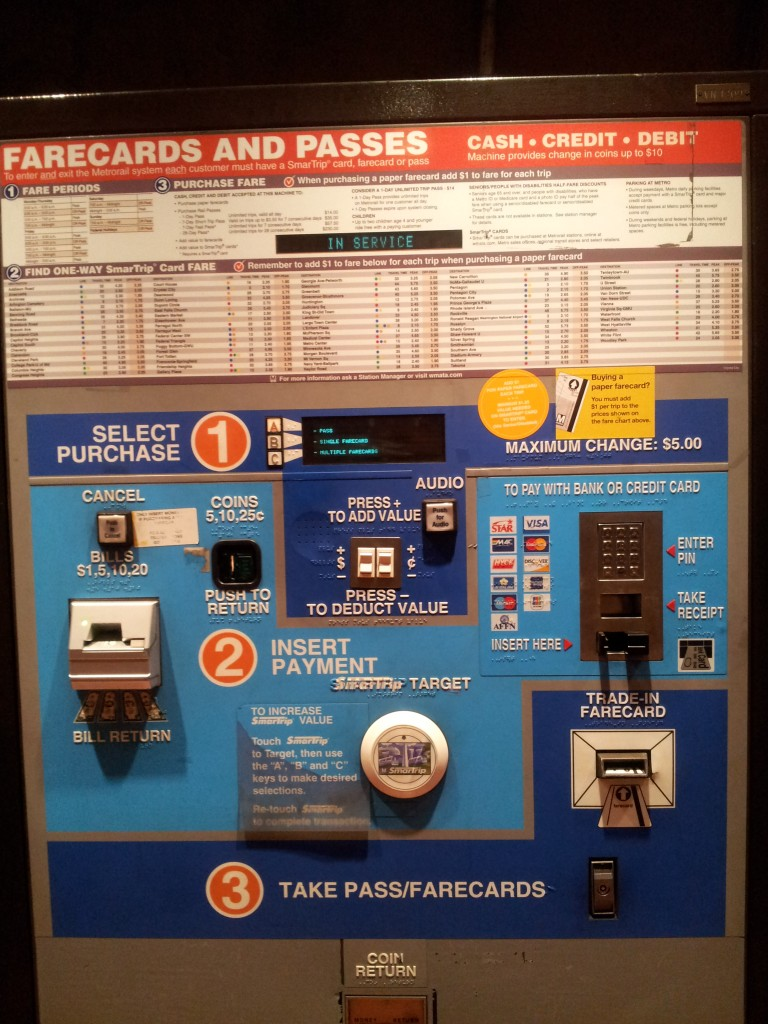Farecard Station In DC/Virginia