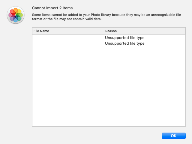 Error message generated by macOS Photos when trying to import images/movies from Google Glass
